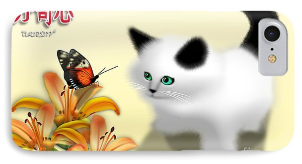 Curious Kitty And Butterfly IPhone Case