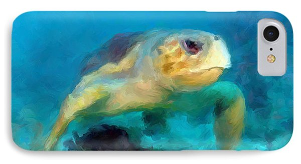 Curious Sea Turtle IPhone Case by David  Van Hulst
