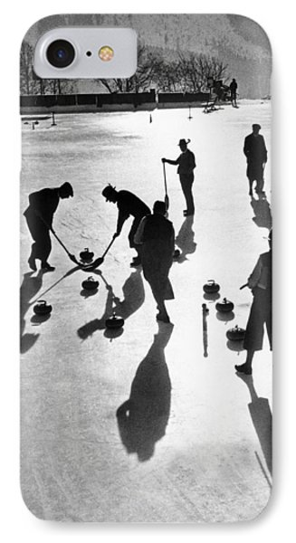 Curling At St. Moritz IPhone Case by Underwood Archives