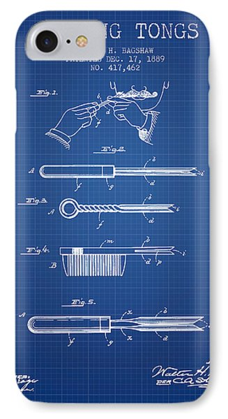 Curling Tongs Patent From 1889 - Blueprint IPhone Case