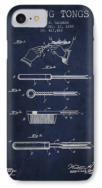Curling Tongs Patent From 1889 - Navy Blue IPhone Case by Aged Pixel