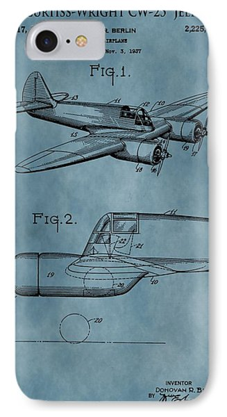 Curtiss-wright Patent Blue IPhone Case by Dan Sproul