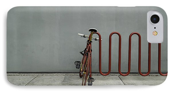 IPhone Case featuring the photograph Curved Rack In Red - Urban Parking Stalls by Steven Milner