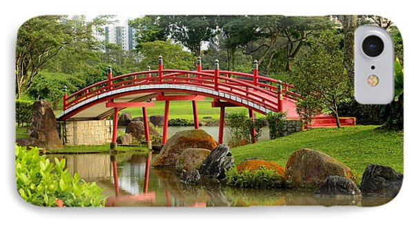 IPhone Case featuring the photograph Curved Red Japanese Bridge And Stream Chinese Gardens Singapore by Imran Ahmed