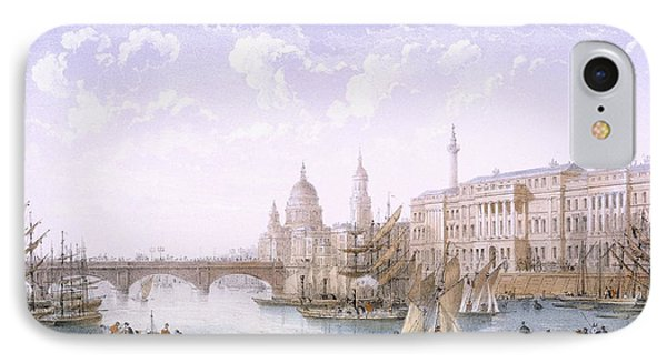 Custom House And London Bridge, 1862 IPhone Case by Achille-Louis Martinet