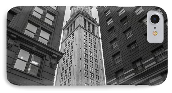 Custom House Tower In Boston Black And White  IPhone Case by John McGraw