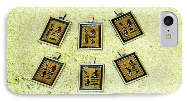 Custom I Love You Egyptian Papyrus Hieroglyphic Necklace Phone Case by Pet Serrano
