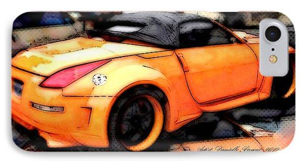 Custom Orange Sports Car Phone Case by Danielle  Parent