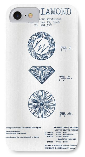 Cut Diamond Patent From 1966 - Blue Ink IPhone Case by Aged Pixel