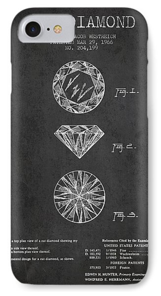 Cut Diamond Patent From 1966 - Dark IPhone Case by Aged Pixel