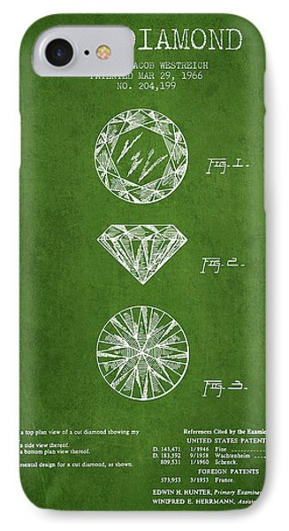 Cut Diamond Patent From 1966 - Green IPhone Case by Aged Pixel