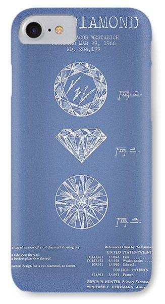 Cut Diamond Patent From 1966 - Light Blue IPhone Case by Aged Pixel