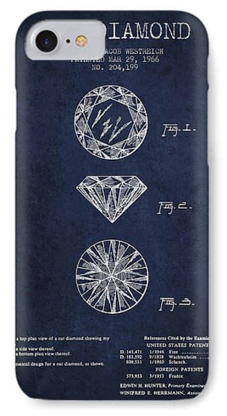 Cut Diamond Patent From 1966 - Navy Blue IPhone Case by Aged Pixel