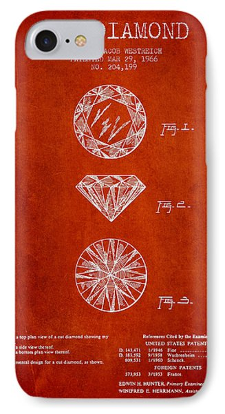 Cut Diamond Patent From 1966 - Red IPhone Case by Aged Pixel