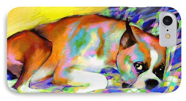 Cute Boxer Dog Portrait Painting Phone Case by Svetlana Novikova