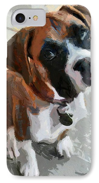 IPhone Case featuring the painting Cute Dog by Georgi Dimitrov