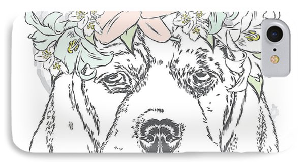 T Shirts iPhone 7 Case - Cute Dog In A Wreath Of Roses . Vector by Vitaly Grin