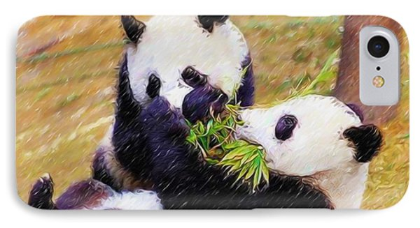 IPhone Case featuring the painting Cute Pandas Play Together by Lanjee Chee