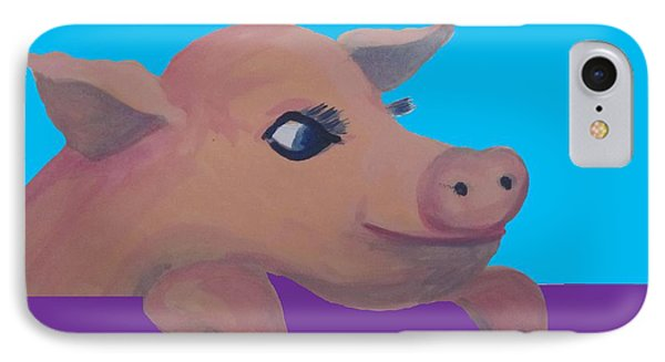 Cute Pig 1 Phone Case by Cherie Sexsmith
