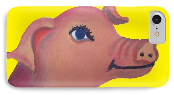 Cute Pig On Yellow Phone Case by Cherie Sexsmith