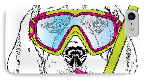 T Shirts iPhone 7 Case - Cute Puppy Wearing A Mask For Diving by Vitaly Grin