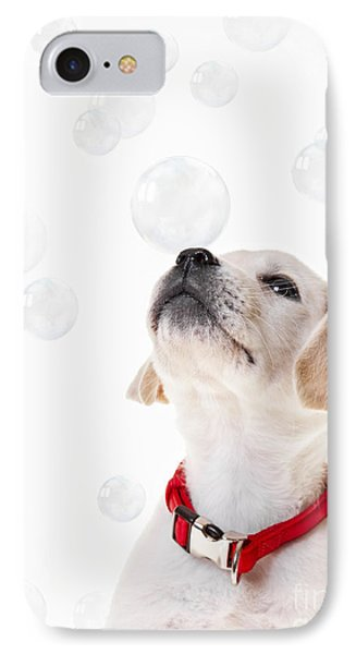 Cute Puppy With A Soap Bubble On His Nose. IPhone Case