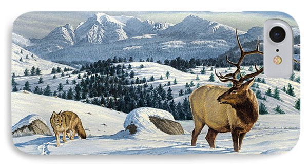 Cutoff Mountain -  Elk And Coyote   IPhone Case by Paul Krapf