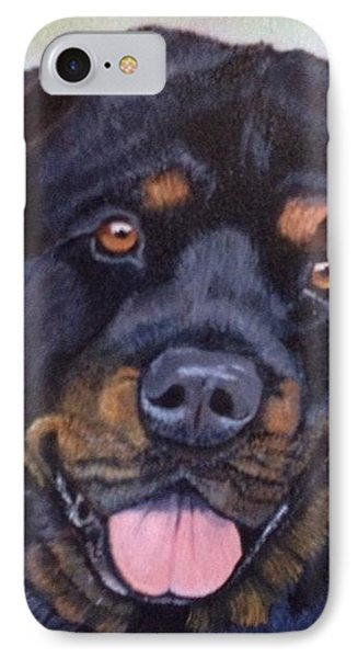 IPhone Case featuring the painting Cutter The Rottweiller by Sharon Schultz