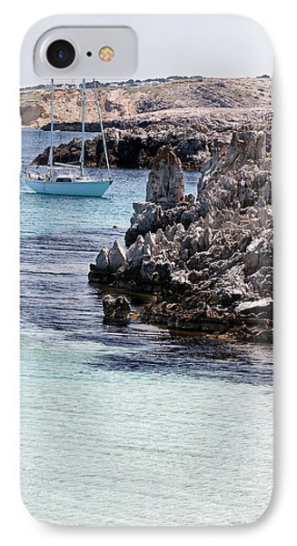 In Cala Pudent Menorca The Cutting Rocks In Contrast With Turquoise Sea Show Us An Awsome Place IPhone Case