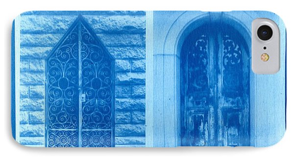 Cyanotype Crypt Doors IPhone Case by Jane Linders