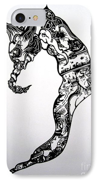 IPhone Case featuring the drawing Cyberworm by Devin  Cogger
