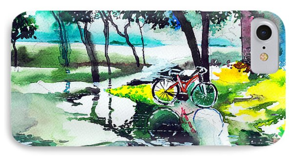 Cycle In The Puddle Phone Case by Anil Nene