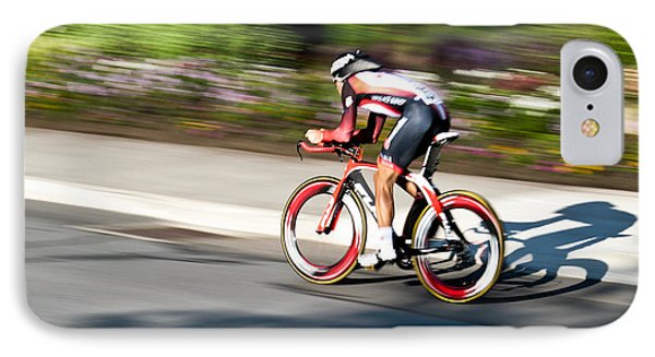 IPhone Case featuring the photograph Cyclist Racing The Clock by Kevin Desrosiers
