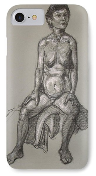 IPhone Case featuring the drawing Cynthia - Seated Nude by Donelli  DiMaria
