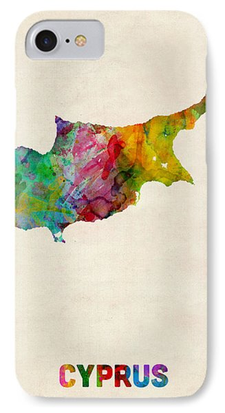 Cyprus Watercolor Map Phone Case by Michael Tompsett