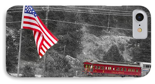 Cyrus K. Holliday Rail Car And Usa Flag Bwsc Phone Case by James BO  Insogna