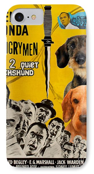 Dachshund Art Canvas Print - 12 Angry Men Movie Poster IPhone Case