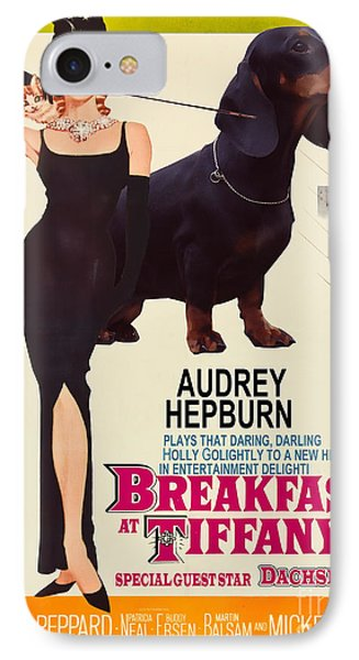 Dachshund Art Canvas Print - Breakfast At Tiffany Movie Poster IPhone Case