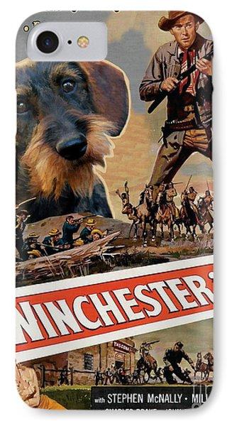 Dachshund Art Canvas Print - Winchester 73 Movie Poster IPhone Case
