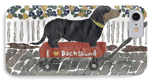 Dachshund Art Hand-torn Newspaper Collage Art Phone Case by Keiko Suzuki
