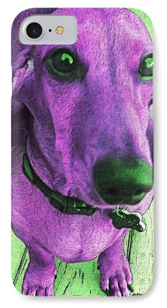 Dachshund - Purple People Greeter Phone Case by Rebecca Korpita