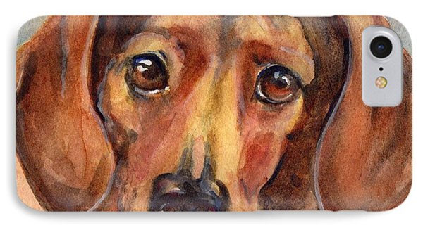 Dachshund Watercolor Phone Case by Maria's Watercolor
