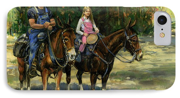 Dad And Daughter On Gatied Mules IPhone Case