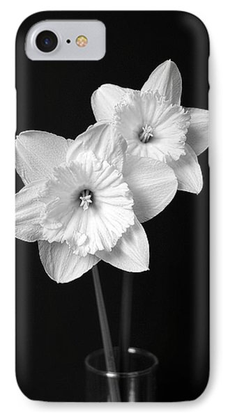 Daffodil Flowers Black And White Phone Case by Jennie Marie Schell