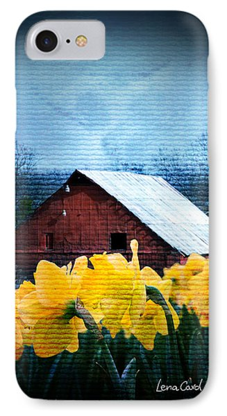 Daffodils And A Red Barn IPhone Case by Lena Wilhite
