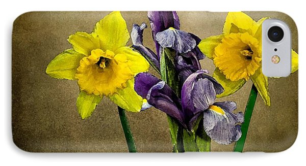 IPhone Case featuring the photograph Daffodils And Iris by Shirley Mangini