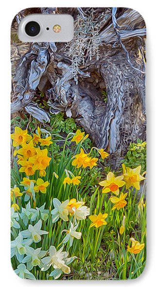 Daffodils And Sculpture Phone Case by Omaste Witkowski