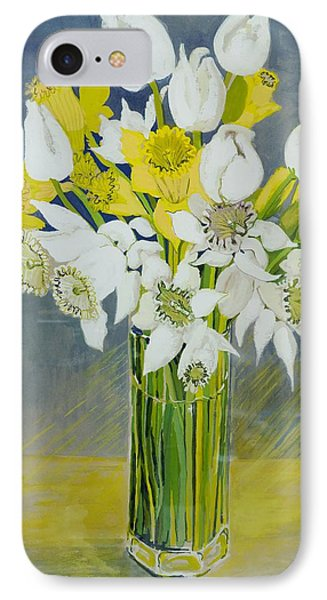 Daffodils And White Tulips In An Octagonal Glass Vase Phone Case by Joan Thewsey