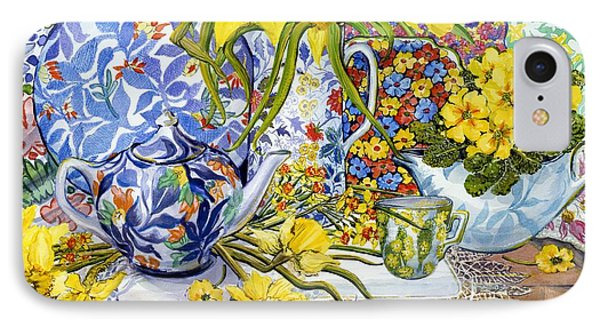 Daffodils Antique Jugs Plates Textiles And Lace Phone Case by Joan Thewsey