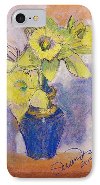 Daffodils In Blue Italian Vase IPhone Case